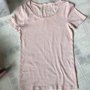 J crew peach and white scoop neck Short Sleeve Tee